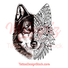 Mandala Wolf tattoo design reference created by tattoo artist