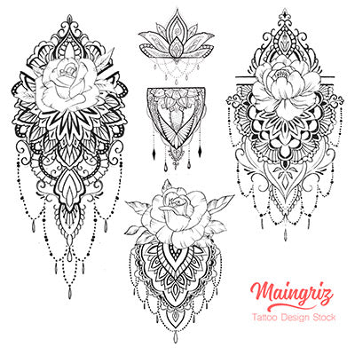 4 amazing half sleeve Mandala tattoo design digital download