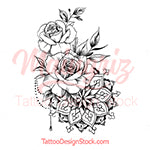 Roses pearls mandala tattoo design - INSTANT DOWNLOAD
