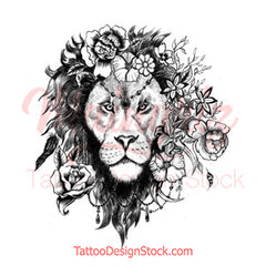 Sexy lion flowers tattoo design references