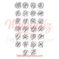 alphabet chicano capitals tattoo design