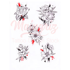 Flowers trash polka tattoo design