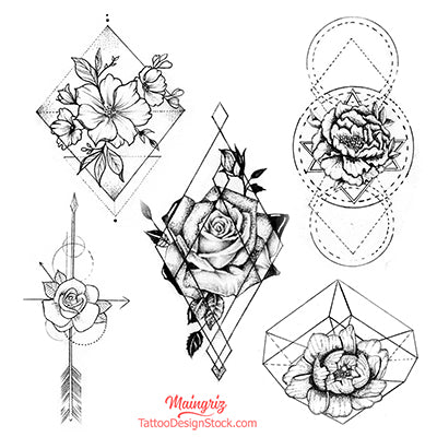 geometric flowers tattoo design