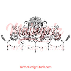 Lace garter with 3 Roses and pearls tattoo design references created by tattoo artists