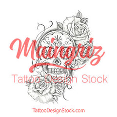 sugar skull with roses tattoo design