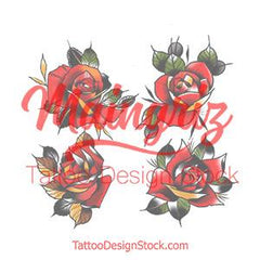 4 x Neo tradional roses temporary tattoos by maingriz