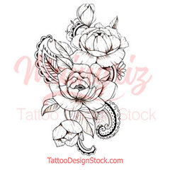 oriental linework rose tatoo design