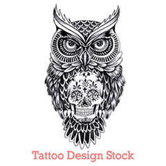 owl and sugar skull tattoo design