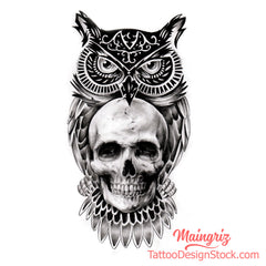 owl with skull tattoo design