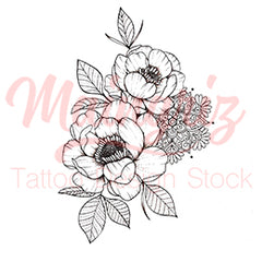 sexy peony mandala tattoo design for woman