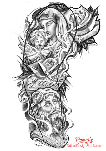 religious sleeve tattoo design