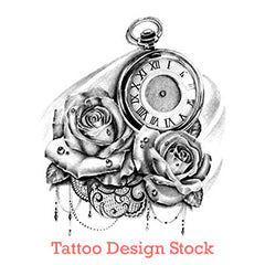 rose and clock with lace tattoo design