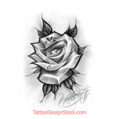rose and eye chicano tattoo design by tattoo artist
