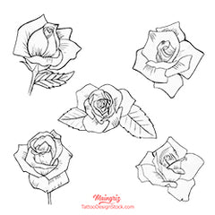 5 roses linework minimalist digital tattoo design references