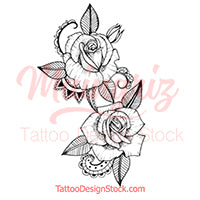 Sexy rose linework tattoo design high resolution download