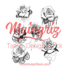 roses with lace and pearl tattoo design high resolution download by tattoodesignstock.com