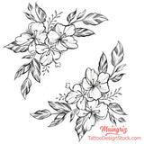sexy flowers sideboob tattoo design digital download by tattoo artist