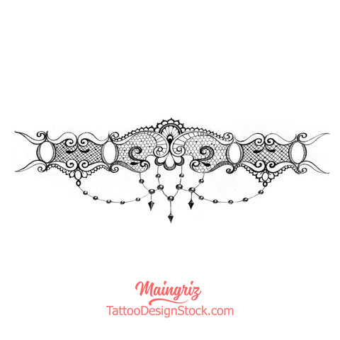 sexy lace garter tattoo design