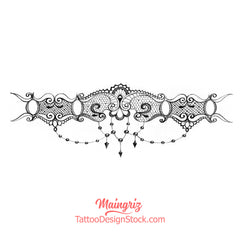 Sexy lace garter with pearl tattoo design