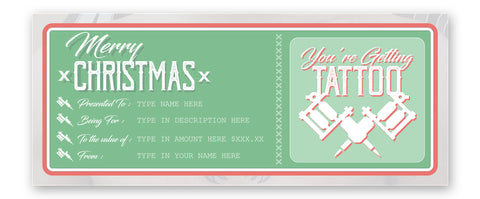 merry christmas tattoo gift voucher instant download designed for tattoo shop