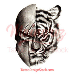 Tiger and spartan realistic tattoo design references