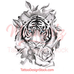 Tiger with key and rose tattoo designrealistic tiger with key and rose tattoo design