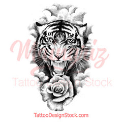 tiger and rose realistic tattoo design leg in high resolution download