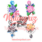 5 x Realistic roses with precious stone temporary tattoos