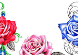 5 x sexy realistic roses with precious stone temporary tattoos