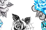 5 x Realistic roses with sexy precious stone temporary tattoos