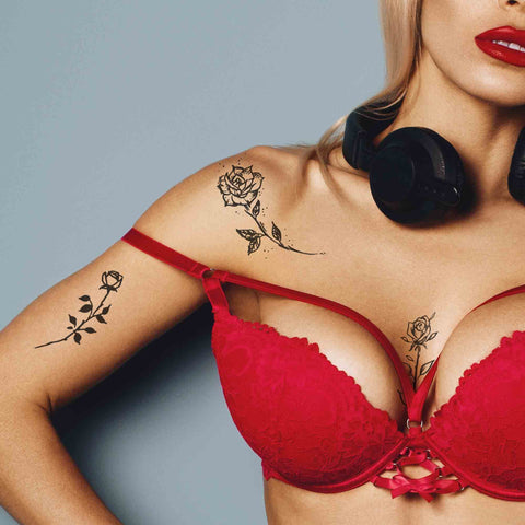20 minimalist roses under boob & side boob temporary tattoos