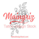 2 sexy roses tattoo design digital download by tattoo artists