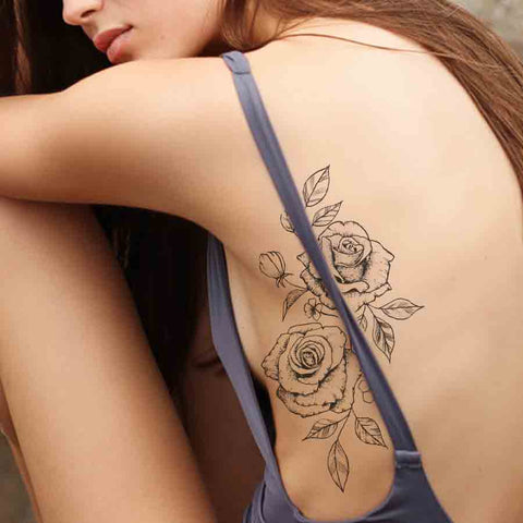 2 roses sideboob temporary tattoos