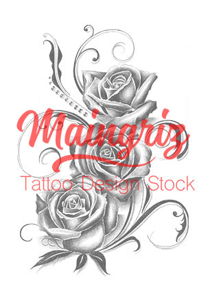 3 Realist Roses Tattoo Design In Black And Grey Style Tattoo
