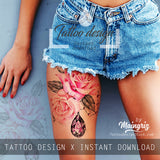 5 x Realistic sexy roses with precious stone  tattoo design high resolution download