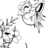 5 geometric flowers line work tattoo design high resolution download