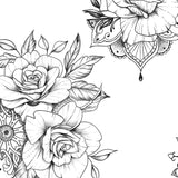 5 Oriental roses temporary tattoos