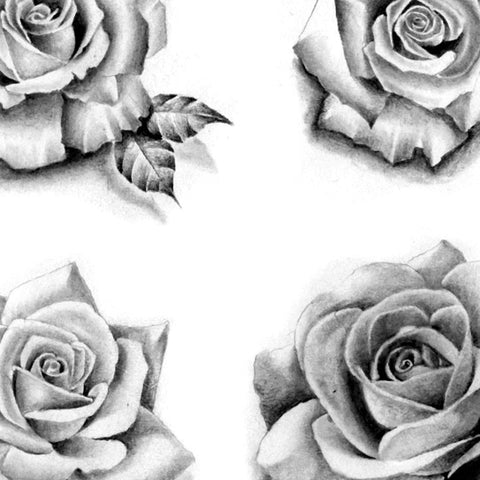 6 Realistic Roses And Leaf Download Tattoo Design 14
