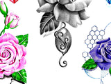 5 x precious stone with sexy realistic roses temporary tattoos