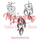 3 x Realistic dreamcatchers temporary tattoos