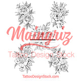 5 x peony linework half sleeve tattoo design high resolution download