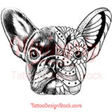 Bulldog mandala temporary tattoos