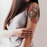 Catrina & 2 roses temporary tattoo