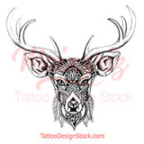 Deer Mandala temporary tattoo