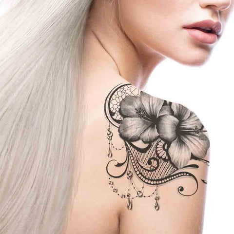 Hibiscus and Lace temporary tattoo
