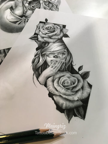 Clown girl california with rose tattoo design references