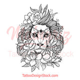 sexy lion and flowers half sleeve tattoo design references created by tattoo artist