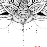 original lotus oriental mandala tattoo design digital download
