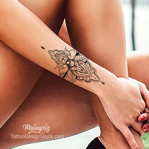 Mandala forearm wrist tattoo design for half sleeve tattoo for woman