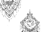 5 mandala roses temporary tattoos